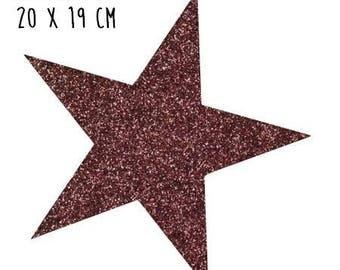 Star pattern fusible thin 20 x 19 cm Brown glitter