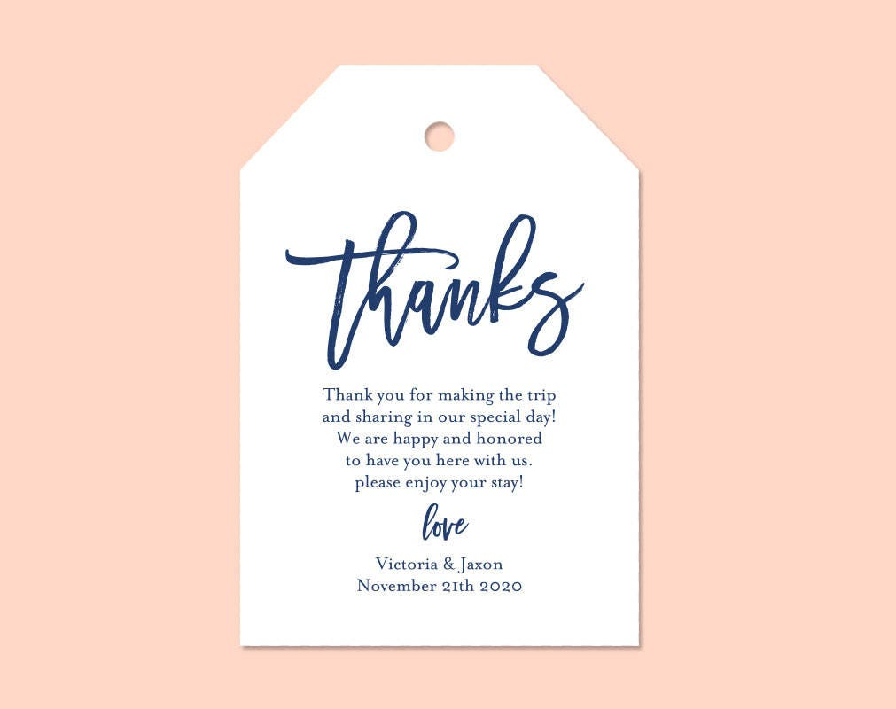 Navy Blue Thank You Tag Gift Tags Wedding