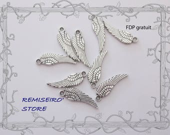 10 charms 16x5mm silver wings
