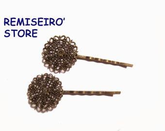 2 Support hair bar prints filigree flowers bronze