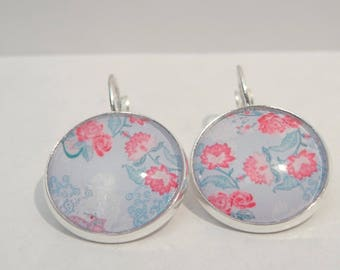 English rose flower earrings