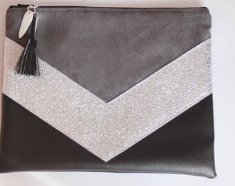 "Clutch bag ""TESS"" black, gray and silver (end of series)"