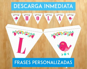 Triangular birthday for party/flags flags / pennants for it / PHRASES PERSONALIZABLES/Imprimible in house/Digital bird