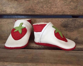 Strawberry slippers kids leather - multiple colors and sizes available