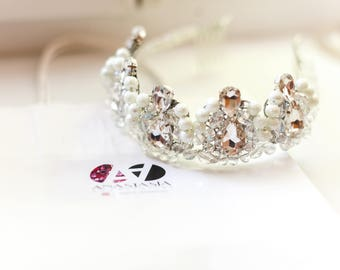 Crystal and Pearl Bridal Tiara