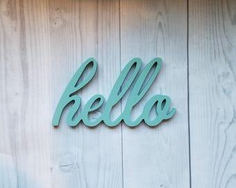 Hello Sign, Hello, Wood Hello Sign, Hello Wood Word, Hello Wood Cutout, Hello, Word Cutout, Gallery Wall Decor, Word Sign