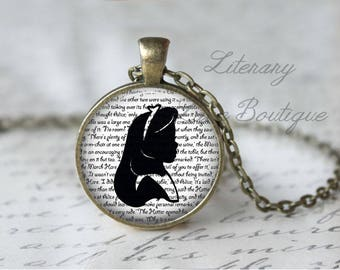 Alice in Wonderland, Alice Silhouette, Lewis Carroll Necklace or Keyring, Keychain.