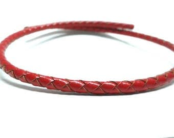 Red 4mm braided leather cord