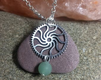 Steam punk pendant with silver plated chain and aventurine bead