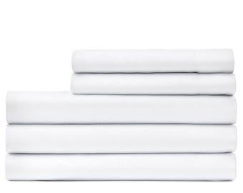 cotton sateen bed sheet and pillowcase set