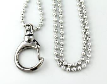 Ball Chain Lanyard, Silver Ball Chain Lanyard, Stainless Steel Ball Chain Lanyard, Silver ID Badge Lanyard, ID Badge Holder, ID holder