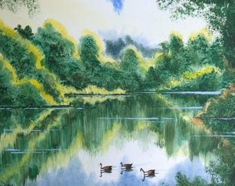 Landscape watercolour, watercolour paintings, reflections, ducks, sky reflections, lake reflections, english countryside, green foliage