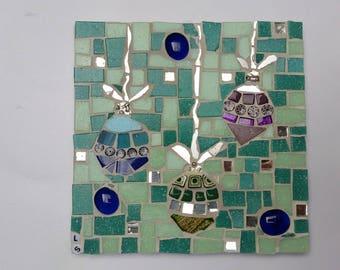 Christmas baubles mosaic tile