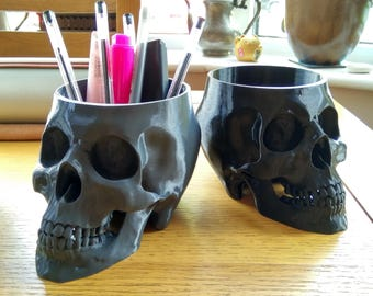 Skull Desk Organizer | Skull Bowl, Home Decor, Mens Gift, Birthday Gift, Pencil Holder, Pen Holder, Brush Holder, Office Gift, Skull Decor
