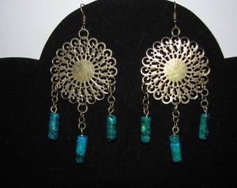 Chrysocollas way dream catcher earrings