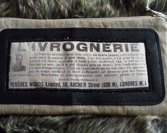 "Beige canvas vintage advertising ""cure drunkenness"" 1924 Kit"