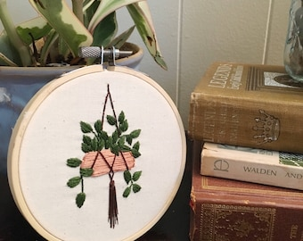 Hanging Ivy Embroidery Hoop Art