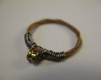 Recycled Guitar Sting Ring, Gold and Silver Ring, Size 4, Size 7, Size 8, Custom Sizes, Mens Ring, Womens ring, Upcycled, Musician Gift