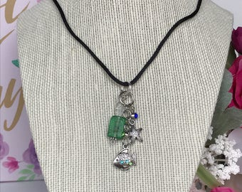 Sea Theme Necklace on Satin Rope Necklace - Sea Glass Bead Necklace