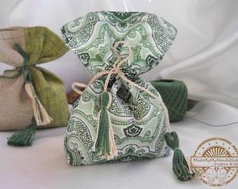 Lavender, mint, pine, green and beige sachet aroma bag, of natural fabric, linen, fragrant sachet, handmade, bag with herbs, gift bag, eco