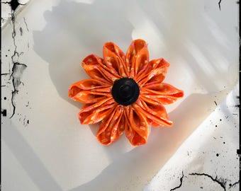 """Kanzashi hair clip """"rising sun orange"""""""