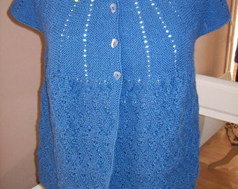 Vest - bolero - knit form - blue-