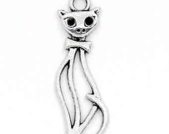 lot 30 cat metal charms silver 34 mm x 11 mm