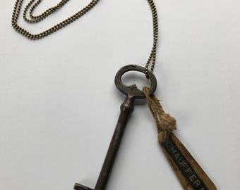 Antique french key necklace