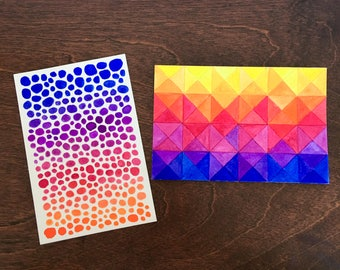 Sunset Postcard Set- set of two original hand painted gouache postcards