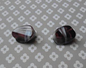 Set of 2 20 x 10 mm Amethyst beads