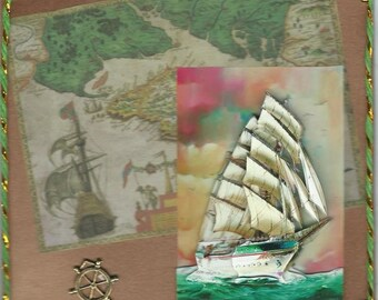 old boat 3D on navigation map card