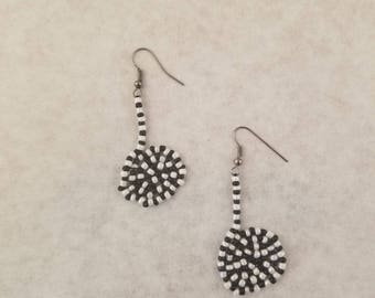 Bead Earrings, Black and White, Gift for Her, Tim Burton Inspired, Sandworms
