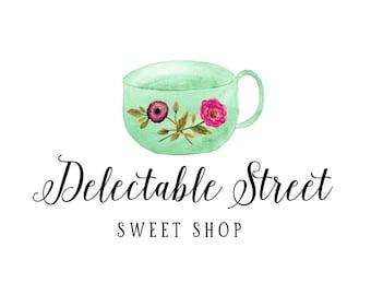 Tea Cup Logo, Watercolor Logo, Logos, Blog, Calligraphy Logo, Small Business Logo, Business Logo, Premade Logos, Logo Design, No. 29
