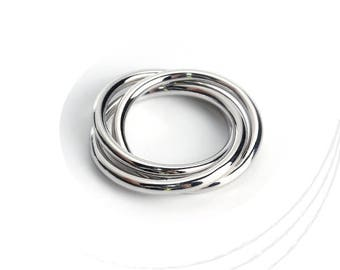Silver plated Ringe 21 mm, thickness 2 mm, lead, nickel free