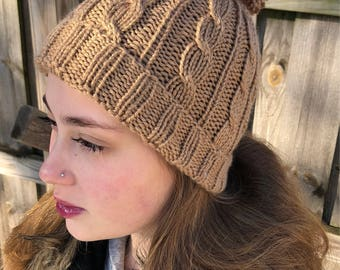 Hand Knit Cabled Hat with Pompom