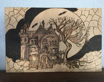 Halloween haunted house wall art