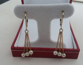 triple pearl, lever back earrings