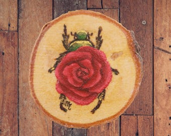 Original Mini Rose Scarab Beetle On Wood | Insect Flower Painting on Wood