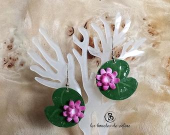 Earrings: water lilies