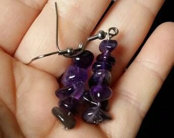Amethyst semi precious stone earrings