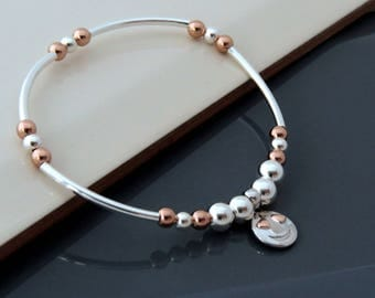 Sterling Silver - Rose Gold  Bracelet with Smiley Face Charm, Silver Bead Charm Bracelet, Gift for Women, Gift for Girls, Kids Bracelet