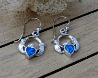 Sterling Silver Blue Opal Earrings, Silver  Opal Claddagh  Earrings, Blue Opal Earrings Gift for Her, Opal jewelry, Opal Earrings for Her