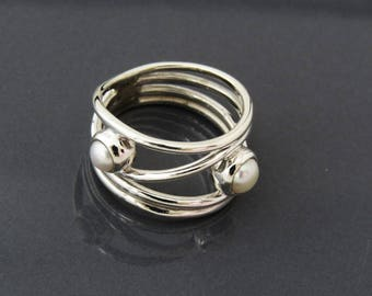 Sterling Silver Open Style Wavy Band Ring with 2 Round Pearl Stones. Freshwater Pearl Stone Ring, Rings for Women