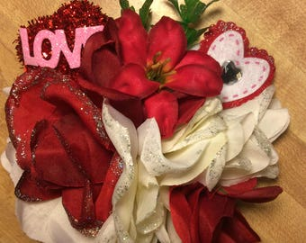 Valentine Red Rose Pinup Hair Flower Rockabilly Red Hearts