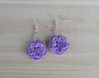earrings with purple crochet flowers and swarovski crystal beads