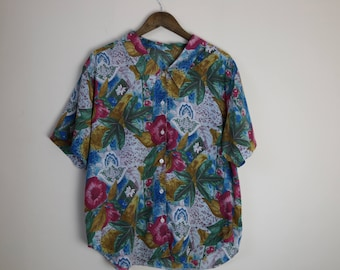 90s Vintage Oversized Colourful Floral Shirt
