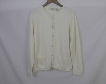 Vintage Cream Cardigan with Gold Buttons