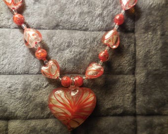 women half long with Murano Heart Necklace