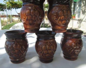 Vintage Ceramic Wine Cups, Bulgarian handmade ceramic, Unique Wine Glasses, Set of 5 ceramic cups, Ceramic pottery