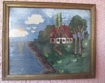 Vintage picture of velvet, Picture frame, Picture behind glass, Velvet wall decor, Wall hanging picture, Vintage wall decoration, Home decor